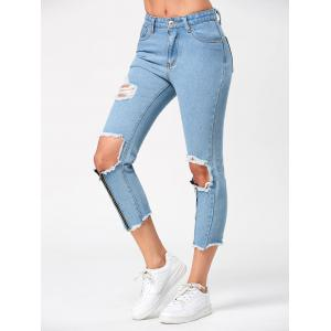 High Waist Torn Capri Jeans with Zipper