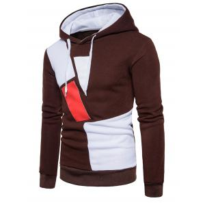 PU Leather Color Block Panel Fleece Hoodie