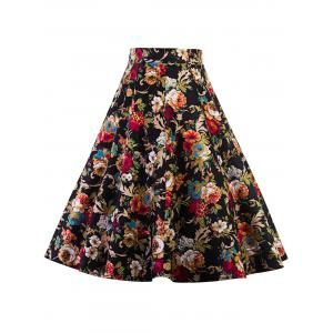High Waist Floral Midi Pleated Skirt
