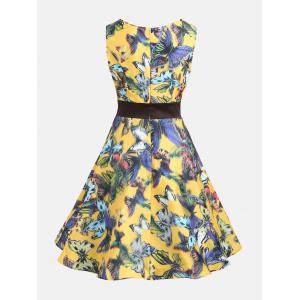 Butterfly Print Sleeveless Pin Up Dress - COLORMIX S