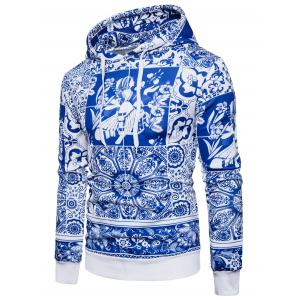 Blue and White Porcelain Print Hoodie