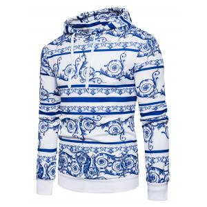 Chinoiserie Florals Print Pullover Hoodie