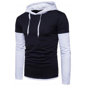 Color Block Panel Faux Twinset Hoodie
