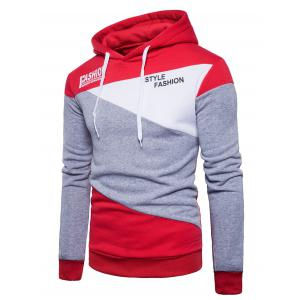 Graphic Color Block Panel Fleece Hoodie