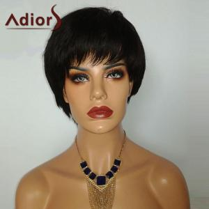 Adiors Short Side Bang Glossy Straight Pixie Bob Synthetic Wig