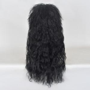 Long incliné Bang Shaggy Natural Wave Rocker Hommes perruque -