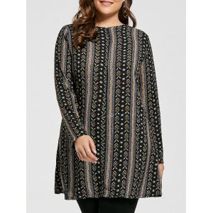 Plus Size Bohemian Printed Tunic Dress with Sleeves - Black - 7xl