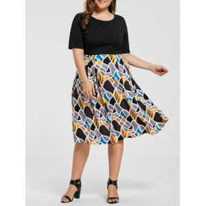 Plus Size Geometric Fit and Flare Dress