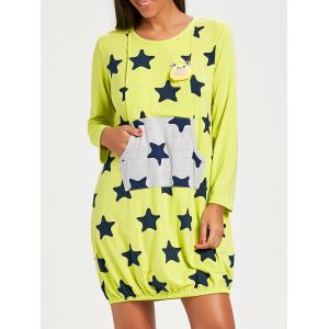 Stars Print Maternity Night Dress - Brilliant Green - L