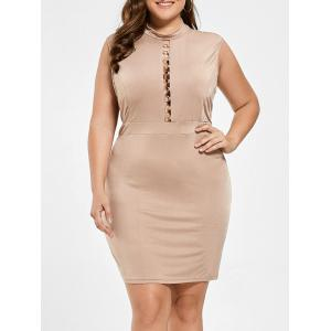 High Neck Cut Out Plus Size Bodycon Dress