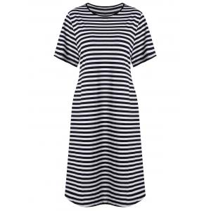 Plus Size Knee Length Striped Dress