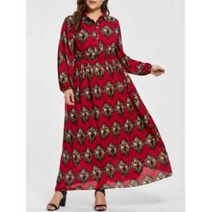 Plus Size Elastic Waist Printed Maxi Shirt Dress