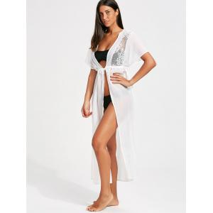 Lace Insert High Slit Long Cover-Up Dress - WHITE L