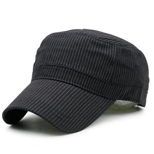 Flat Top Pinstriped Military Hat - Black - One Size
