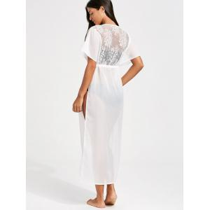 Lace Insert High Slit Long Cover-Up Dress - WHITE XL