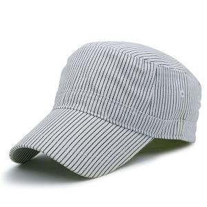Flat Top Pinstriped Military Hat - White
