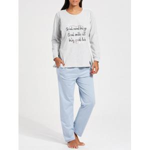 Nursing Cotton Long Sleeve Pajamas Set