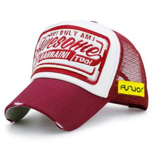 Mesh Splicing Letters Patchwork Baseball Hat