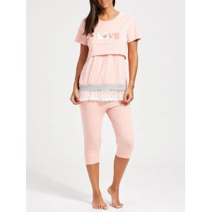 Lace Trim Stripe Nursing Pajamas Set