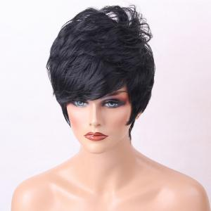 Short Side Bang Shaggy Layered Slightly Curly Human Hair Wig -
