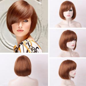 Short Oblique Bang Straight Bob Human Real Hair Wig