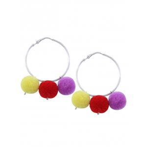 Pompon Fuzzy Ball Circle Hoop Earrings