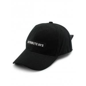 Letters Embellished Wide Long Tail Baseball Hat - Black - One Size