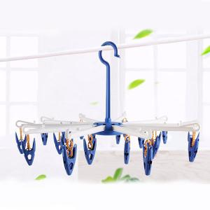 Multipurpose Clothes Hanging Dryer with 20 Clips - BLUE
