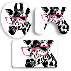 3Pcs Giraffe Pattern Bath Tapis de toilette Set -