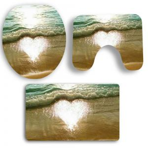 3Pcs Heart Tidewater Pattern Bath Tapis de toilette Set -