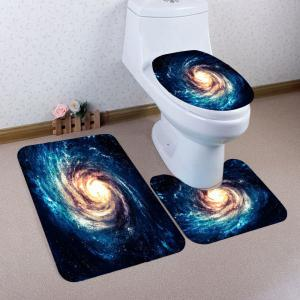 Nonslip Galaxy Pattern 3Pcs Bath Toilet Mats Set - Blue - W24 Inch * L71 Inch