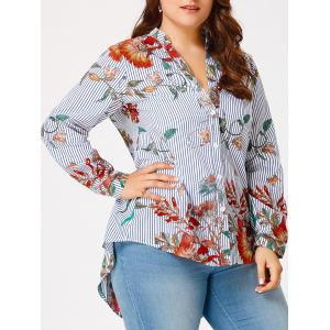 Flower Leaf Plus Size High Low Shirt - Blue And White - 5xl