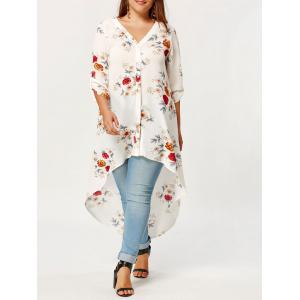 Plus Size High Low Floral Maxi Shirt
