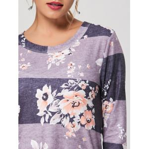 Casual Striped Floral Print Long Tee - GRAY S
