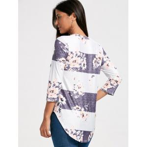 Casual Striped Floral Print Long Tee -