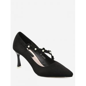 Pointed Toe Flowers Faux Pearls Pumps