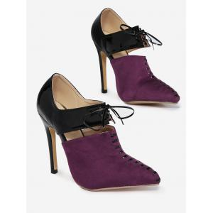 Two Tone Tie Up Pumps