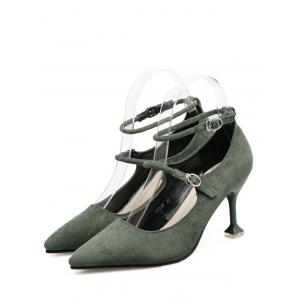 Strange Style Double Buckle Strap Pumps - GREEN 39