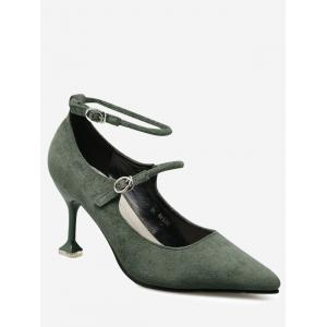 Strange Style Double Buckle Strap Pumps - Green - 38