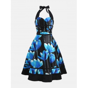 Flower Ink Print Halter 50s Swing Dress - Colormix - 2xl