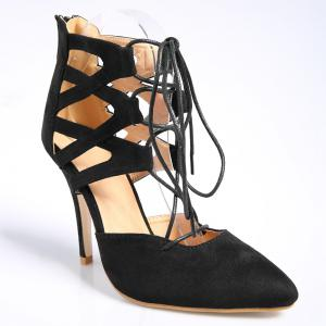 Lace Up Zipper Pointed Toe Pumps - Black - 42