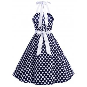Vintage Bowknot Backless Halter Pinup Dress -