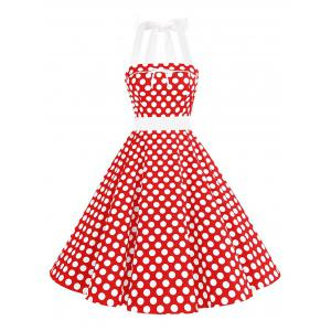 Vintage Bowknot Backless Halter Pinup Dress