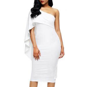 One Shoulder Asymmetrical Bodycon Dress - White - Xl