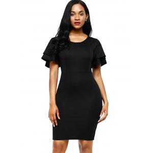 Layered Sleeve Bodycon Back Slit Dress - BLACK XL