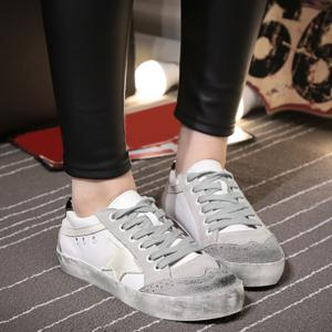 Star Color Block Lace Up Sneakers - GRAY 37