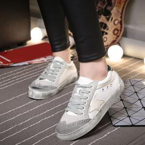 Star Color Block Lace Up Sneakers - GRAY 38