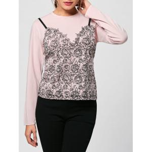 Tiny Floral Long Sleeve Tee - Nude Pink - 2xl