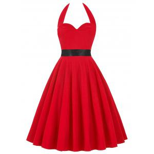 Vintage Halter Lace Up Backless Pin Up Dress - Red - 2xl