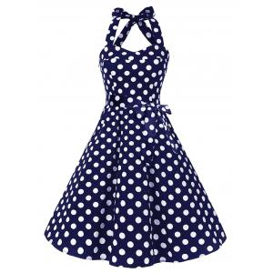 Vintage Polka Dot Backless Halter Pin Up Dress - Deep Blue - S